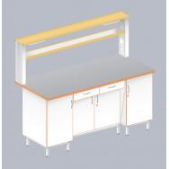 Стол пристенный физический с закрытой тумбой ЛАБ-1800 ПТТ
