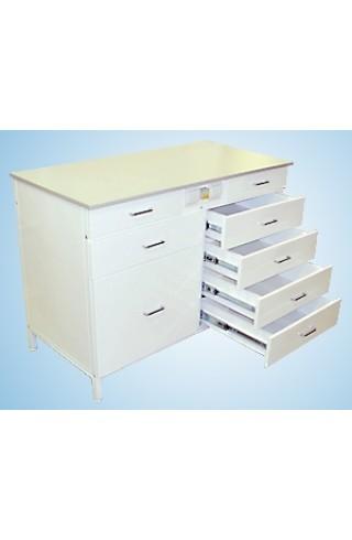 Стол-тумба 1200 СТЛл-М с ящиками/розетками (ламинат, двуств. тумба)