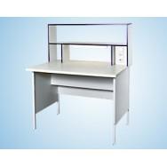 Стол пристенный физический 1200 СПФw (Wilsonart, с надстольем)