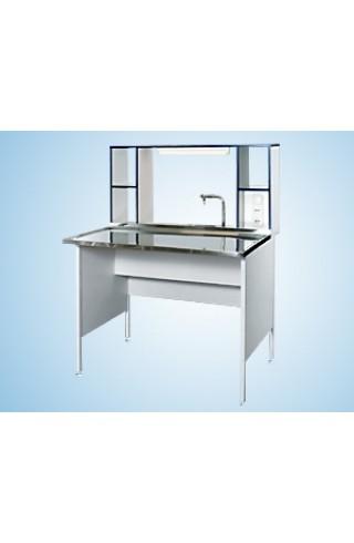 Стол пристенный химический 1500 СПХкм (Мон. керамика, с надстольем)